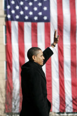 Barack Obama acknowledges his supporters after announcing his campaign for the presidency in Springfield, Illinois on February 10, 2007.