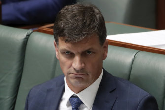 Energy Minister Angus Taylor during Question Time at Parliament House in early December 2019, where has has faced intense scrutiny from the Opposition.