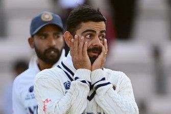 A downcast Virat Kohli on the final day.