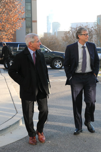 Gates with leading US infectious-diseases expert Anthony Fauci in 2018.