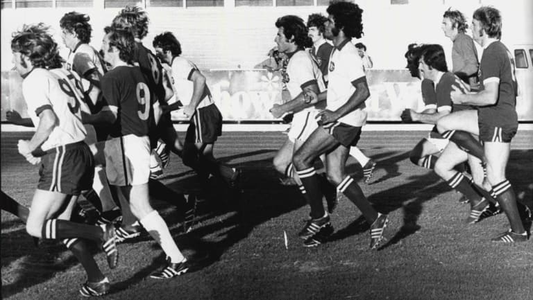 The Australian soccer team trains for the World Cup in Sydney, 1974.