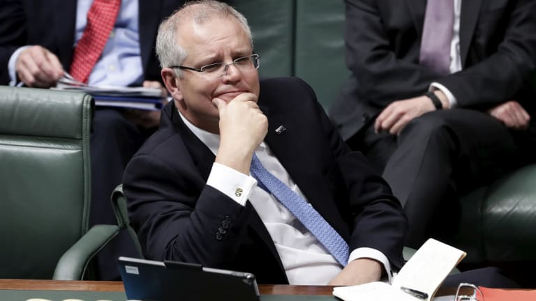Scott Morrison during his first Question Time as Prime Minister.