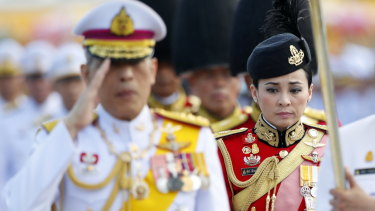 Suthida Tidjai on duty as commander of the King's bodyguards in Bangkok earlier this month.