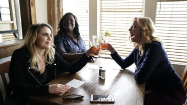 Mae Whitman, Retta and Christina Hendricks star in Good Girls.