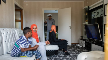 Saadia Osman, second from left, a mother of three who arrived in Sweden six years ago after fleeing the war in her native Somalia.