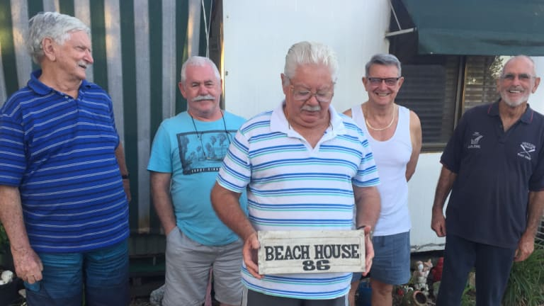 Coolum Beach caravan resident Bob Davidson and his mates Darcy Sutton, Mark Duggan, John Jackson and Ken Cameron have lived at Coolum Beach Holiday Park for a combined 80 years.