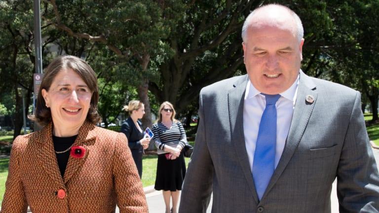 NSW Premier Gladys Berejiklian and Veterans Affair Minister David Elliott on Thursday.