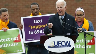 Former vice president Joe Biden speaks at a rally in support of striking Stop & Shop workers in Boston on Thursday.