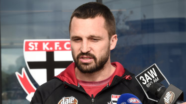 Jarryn Geary, one of the sidelined Saints, faces the media on Tuesday.
