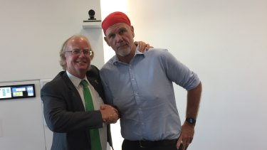 Real Republic's David Muir and Australian Republican Movement chair Peter FitzSimons.