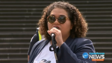 Tarneen Onus-Williams speaks at the 'Invasion Day' rally
