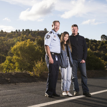Kathleen Bautista with first responders ACT Policing search and rescue coordinator Lachlan Ryan and former ACT Parks area manager Tim Chaseling. Kathleen says she's grateful to the emergency services for her rescue.