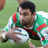 Alex Johnston is on track to break the record for number of tries in an NRL season.