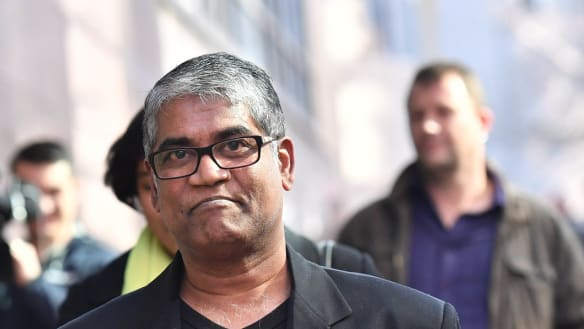 Roger Singaravelu outside Melbourne Magistrates Court earlier this year following an appearance by Momena Shoma, the Bangladeshi woman who stabbed him.