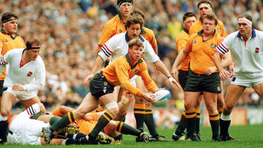 Nick Farr-Jones in action for the Wallabies in the 1991 World Cup final.