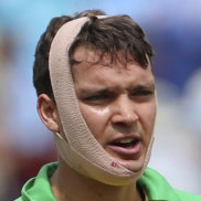 Alex Carey after taking a head knock in the recent World Cup.