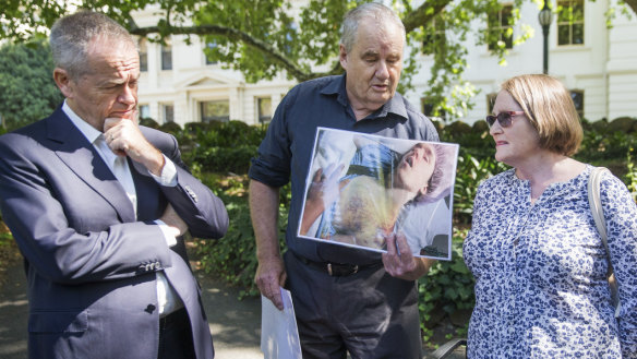Federal Opposition leader Bill Shorten was joined by families of people with disabilities on Saturday as he called for a royal commission into their treatment. Peter and Paula Curotte's son was injured while in the care of Victoria's Department of Human Services.
