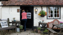 The White Horse pub, near Petersfield, on polling day 2017.