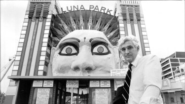 Ted Mack outside Sydney's Luna Park in 1983.
