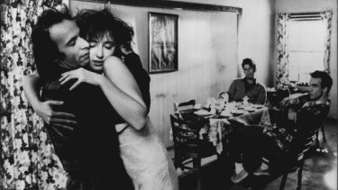 Roberto Benigni, Nicoletta Braschi, Tom Waits and John Lurie in Down By Law.