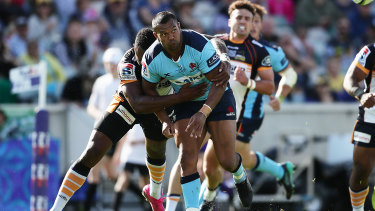 Kurtley Beale is tackled by Tevita Kuridrani  during last month's clash between the Waratahs and Brumbies in Canberra.