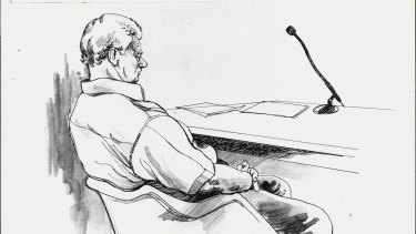 Artists' Impression of John Wayne Glover in court on March 28, 1990