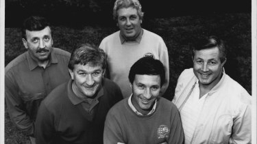 Ray Warren with Channel Nine colleagues Warren Ryan, Darrell Eastlake, Ken Sutcliffe and Michael Cleary in 1989.