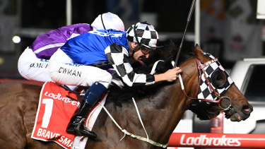 Fortune favours: Brave Smash edges Spirit Of Valor in the Manikato Stakes.