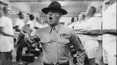 Lee Ermey as Gunnery Sgt. Hartman in Full Metal Jacket.
