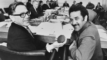 Charlie Perkins (right) at Parliament House in Canberra, 1974.