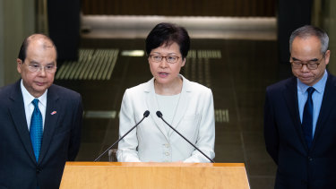 Carrie Lam holds a press conference on Thursday as Matthew Cheung, chief secretary, left, and Lau Kong-wah, secretary for home affairs, look on.