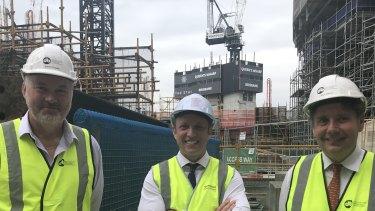 Destination Brisbane project director Simon Crooks, Deputy Premier Steven Miles and Star CEO Matt Bekier on site on Tuesday.