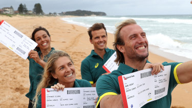 Surfers Sally Fitzgibbons, Stephanie Gilmore, Julian Wilson and Owen Wright will fly the Australian flag in Tokyo.