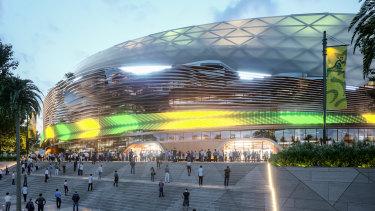 The main entrance to the new Sydney Football Stadium.
