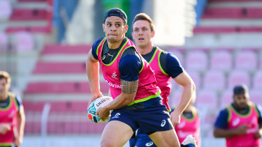 Matt Toomua trains with the Wallabies in New Caledonia.