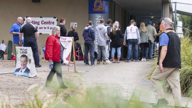 Victorians cast their vote at Frankston State High School at the last state election.
