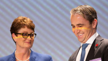 CBA chairman Catherine Livinstone and chief executive Matt Comyn at the company's AGM on Wednesday