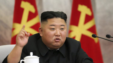 Kim Jong-un speaks during a meeting of the Seventh Central Military Commission of the Workers' Party of Korea.