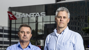 Former Qantas pilots Anthony Byrnes and Campbell Gribble.
