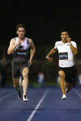 Rohan Browning (left) winning a race in 2019.