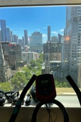 Anett Kontaveit at least has a nice view while doing plenty of hours on an exercise bike.