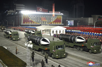 Pictures supplied by the North Korean government purport to show missiles that can launch from submarines.