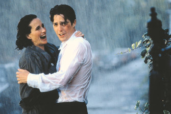 Romance at last: Andie MacDowell and Hugh Grant in Four Weddings and a Funeral.