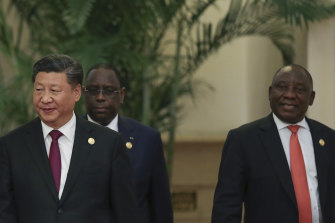 From left: Chinese President Xi Jinping, Senegalese President Macky Sall and South African President Cyril Ramaphosa attend a China-Africa summit in 2018.