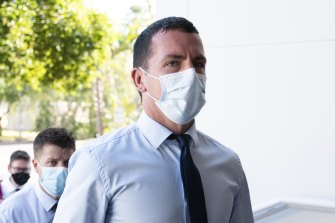 Zachery Rolfe arrives at the Northern Territory Supreme Court on Monday.