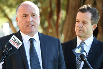 NSW Police Minister David Elliott, left, and NSW Attorney-General Mark Speakman dismiss claims that Ms Berejiklian's leadership is under threat.