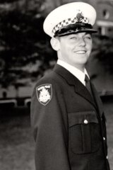 Inspector Stephen Mutton, at his graduation from the academy in 1979.