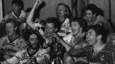 Grand times: Peter Sterling (middle at back) with teammates after the 1983 premiership win.