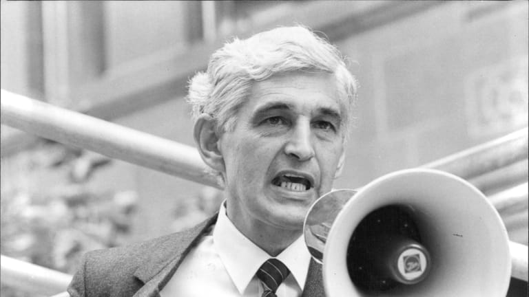 Ted Mack at a street meeting of residents objecting to development in their area in 1982.