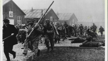 Joining forces with Russian prisoners, the inmates of Sobibor prison stage a successful breakout, seen here in a frame from a TV series.